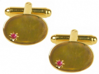 Dalaco 90-9000 Oval Ruby Star Gold Plated Cufflinks